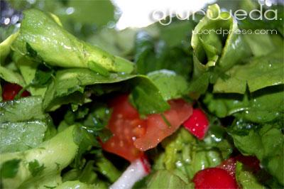 zielona salata ze szpinakiem i pomidorem